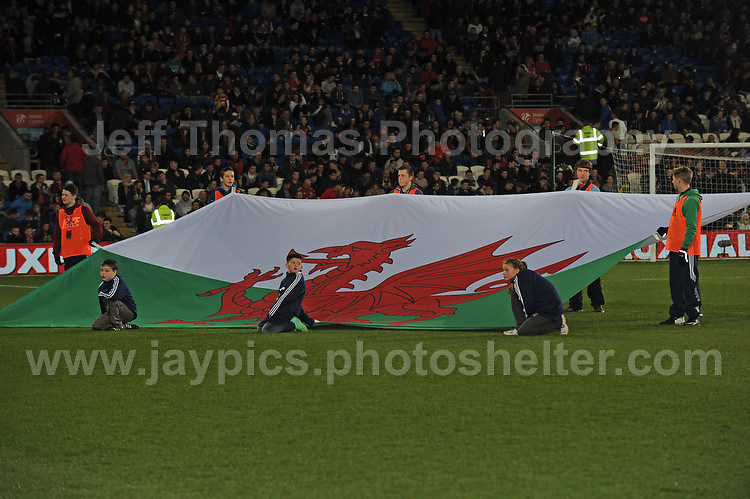 The Welsh flag. Cardiff City Stadium, Cardiff, Wales, Wednesday 5th March 2014. The Football Association of Wales - Vauxhall International Friendly - Wales v Iceland. Pictures by Jeff Thomas Photography - www.jaypics.photoshelter.com - Contact: thomastwotimes@live.co.uk - 07837 386244