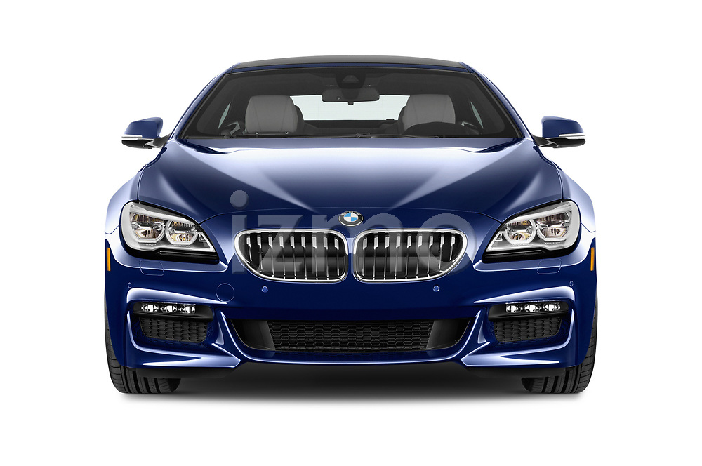 Car photography straight front view of a 2019 BMW 6-Series-Gran-Coupe 640i-xDrive-M-Sport-Edition-AWD 4 Door Sedan Front View
