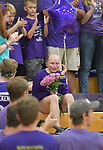 Valmeyer High School sophomore Jessica Hicks is overcome with emotion as she receives a standing ovation before the varsity volleyball game. Volleyball team members read a poem and gave her flowers before the game. The Block, Run, Kick & Drive Out Cancer volleyball match - which featured teachers playing teachers in a special JV game, and the Red Bud varsity team against the Valmeyer varsity team - was held at Valmeyer High School on Tuesday October 9, 2018. <br /> Tim Vizer/Special to STLhighschoolsports.com