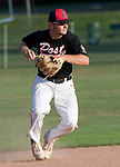 WATERTOWN,  CT-071018JS14-- Oakville's Justin Guerrera (22) throws to first for the out, after fielding a ground ball during their Zone 5 American Legion game against Naugatuck Tuesday at the Taft School in Watertown. <br />  Jim Shannon Republican American