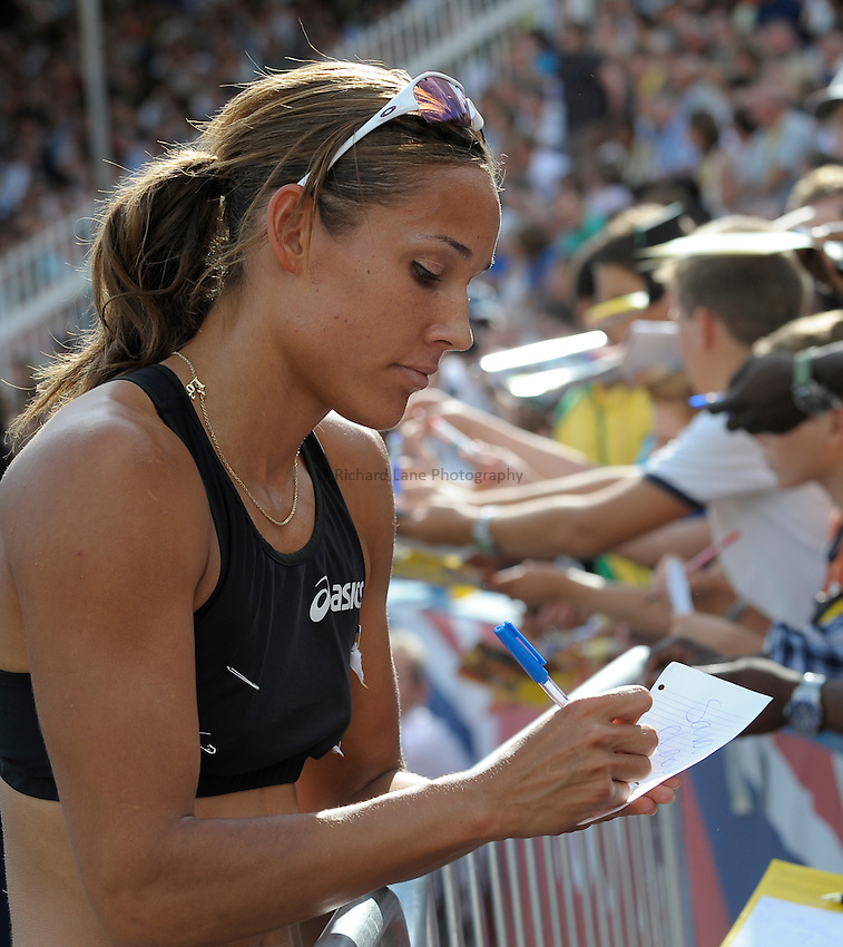 Photo: Ady Kerry/Richard Lane Photography..Aviva London Grand Prix. 25/07/2009. .Lolo Jones signs autographs after finishing 3rd in the 100m hurdles