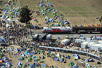 Pictured: Aerial view of the camp and the closed off railway track in Idomeni Thursday 03 March 2016<br />Re: Migrants have closed off the railway track at the Greek Fyro Macedonian border in Idomeni, Greece,