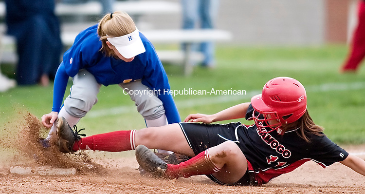 LITCHFIELD--1 May 2008--050108TJ10 - Housatonic's Kaleigh Rogers tags out Wamogo's Tori Sirchia as she slides in to third base during Wamogo Regional High School's 10-5 loss at home against Housatonic Valley Regional High School on Thursday, May 1, 2008. (T.J. Kirkpatrick/Republican-American)