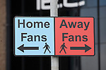 Coventry City 1 Birmingham City 1, 10/03/2012. Ricoh Arena, Championship. A signpost directing 'home' and 'away' fans at the Ricoh Arena, pictured before Coventry City hosted Birmingham City in an Npower Championship fixture. The match ended in a one-all draw, watched by a crowd of 22,240. The Championship was the division below the top level of English football. Photo by Colin McPherson.
