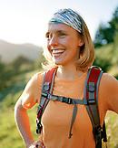 USA, California, Marin Headlands, close-up of a happy young woman hiking