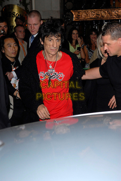RONNIE WOOD.At the Rolling Stones' After Show Party,.The Strand, London, England, August 27th 2007..half length band music red t-shirt.CAP/FIN.©Steve Finn/Capital Pictures.