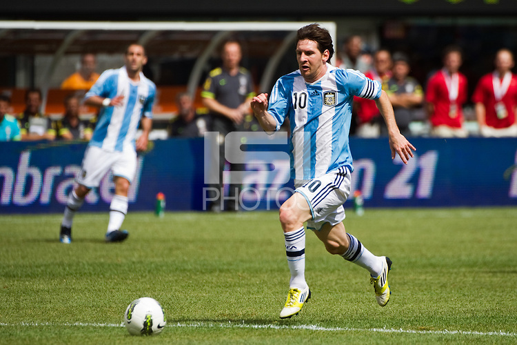 Lionel Messi (10) of Argentina (ARG) gets behind the defense. Argentina defeated Brazil 4-3 in an international friendly at MetLife Stadium in East Rutherford, NJ, on June 9, 2012.