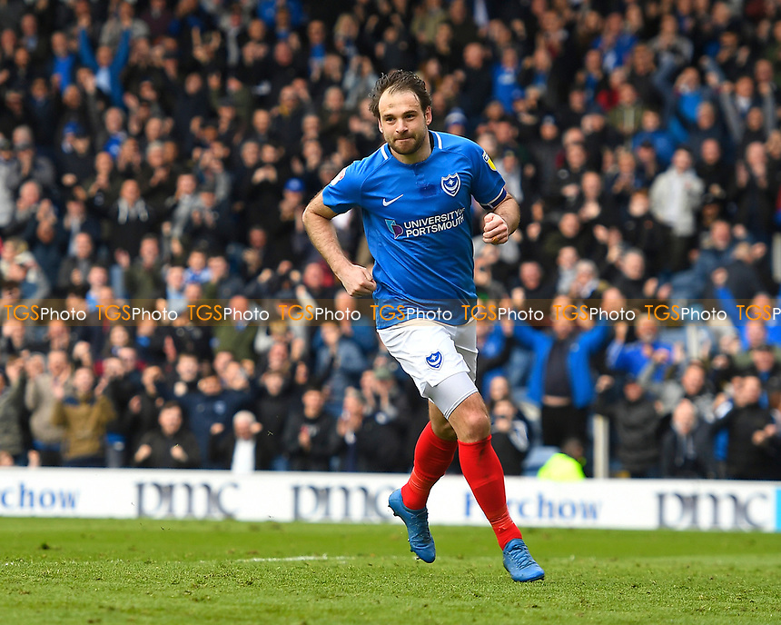 Brett Pitman of Portsmouth celebrates scoring the second goal during Portsmouth vs Rochdale, Sky Bet EFL League 1 Football at Fratton Park on 13th April 2019