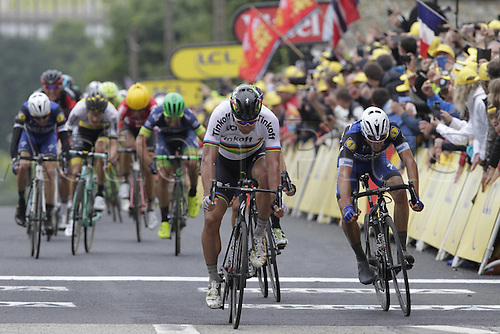 03.07.2016. Normandy, France. Tour de France Stage 2 from Saint-Lo to Cherbourg en-Cotentin.  Tinkoff; 2016, Etixx - Quick Step; Sagan, Peter; Alaphilippe, Julian cross the finish line