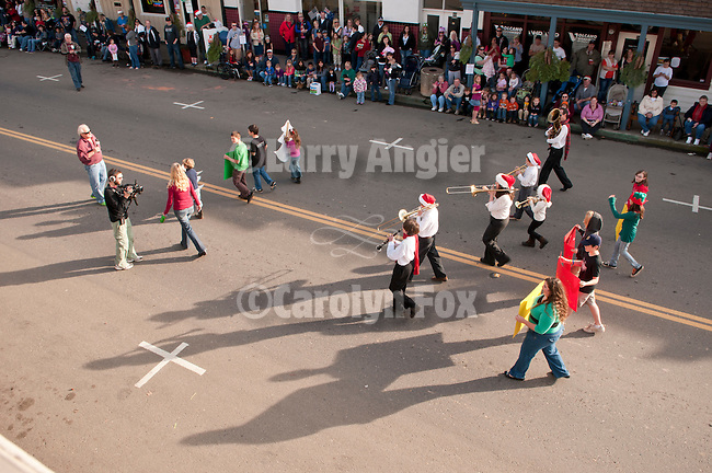 Annual Christmas Parade sponsored by IBCA on Main Street in down town Ione, Amador County, Calif...Marching band