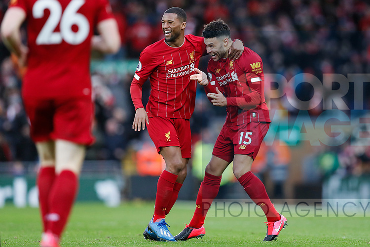 Alex Oxlade-Chamberlain of Liverpool celebrates scoring  the first goal of the game during the Premier League match at Anfield, Liverpool. Picture date: 1st February 2020. Picture credit should read: James Wilson/Sportimage