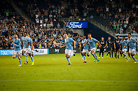 Kansas City, KS - Wednesday August 9, 2017: Sporting Kansas City celebrates their goal during a Lamar Hunt U.S. Open Cup Semifinal match between Sporting Kansas City and the San Jose Earthquakes at Children's Mercy Park.