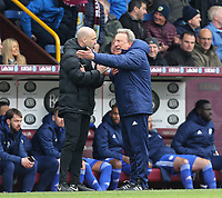 Cardiff City manager Neil Warnock remonstrates angrily with fourth official Anthony Taylor after referee Michael Dean reverted his second half penalty decision<br /> <br /> Photographer Rich Linley/CameraSport<br /> <br /> The Premier League - Saturday 13th April 2019 - Burnley v Cardiff City - Turf Moor - Burnley<br /> <br /> World Copyright © 2019 CameraSport. All rights reserved. 43 Linden Ave. Countesthorpe. Leicester. England. LE8 5PG - Tel: +44 (0) 116 277 4147 - admin@camerasport.com - www.camerasport.com