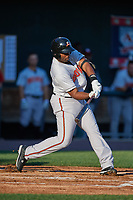 Bowie Baysox first baseman Aderlin Rodriguez (34) at bat during a game against the Harrisburg Senators on May 16, 2017 at FNB Field in Harrisburg, Pennsylvania.  Bowie defeated Harrisburg 6-4.  (Mike Janes/Four Seam Images)