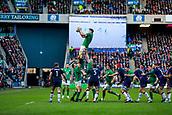 9th February 2019, Murrayfield Stadium, Edinburgh, Scotland; Guinness Six Nations Rugby Championship, Scotland versus Ireland; James Ryan (Ireland) rises high to win the lineout