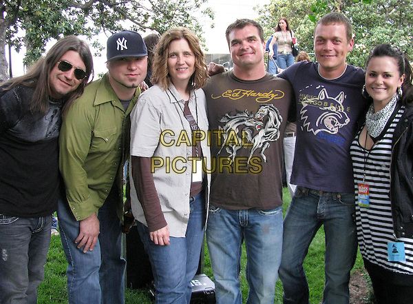"JON NICHOLSON, STEPHONY SMITH, CHRIS HENDERSON, BRAD ARNOLS & SHELY FAIRCHILD of ""3 Doors Down"" .At the NARAS Grammy Block Party, Nashville, Tennessee, USA..May 13th, 2008.half length jeans denim green brown black blue t-shirt sunglasses shades baseball cap hat .CAP/ADM/RR.©Randi Radcliff/AdMedia/Capital Pictures."