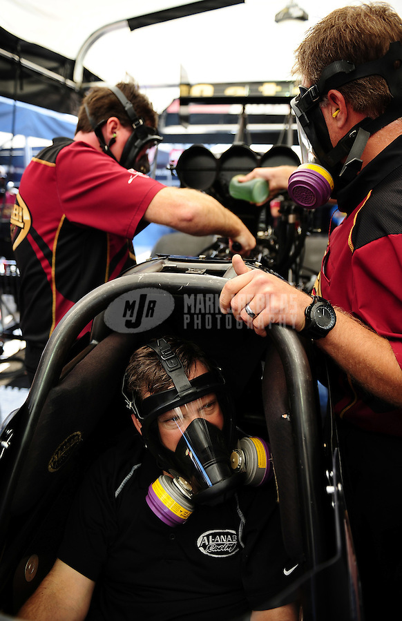Sept. 23, 2011; Ennis, TX, USA: NHRA top fuel dragster driver Del Worsham during qualifying for the Fall Nationals at the Texas Motorplex. Mandatory Credit: Mark J. Rebilas-