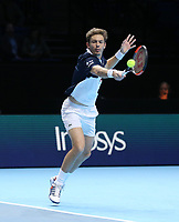 Nicolas Mahut in action during his match with partner Pierre-Hughes Herbert against Jack Sock and Mike Bryan in their doubles Final match today<br /> <br /> Photographer Rob Newell/CameraSport<br /> <br /> International Tennis - Nitto ATP World Tour Finals Day 8 - O2 Arena - London - Sunday 18th November 2018<br /> <br /> World Copyright &copy; 2018 CameraSport. All rights reserved. 43 Linden Ave. Countesthorpe. Leicester. England. LE8 5PG - Tel: +44 (0) 116 277 4147 - admin@camerasport.com - www.camerasport.com