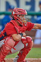 Jeans Flores (13) of the Orem Owlz on defense against the Ogden Raptors at Lindquist Field on July 27, 2019 in Ogden, Utah. The Raptors defeated the Owlz 14-1. (Stephen Smith/Four Seam Images)