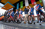 British National Team at sign on before the start of Stage 1 of the Tour de Yorkshire 2018 running 182km from Beverley to Doncaster, England. 3rd May 2018.<br /> Picture: ASO/Alex Broadway | Cyclefile<br /> <br /> <br /> All photos usage must carry mandatory copyright credit (&copy; Cyclefile | ASO/Alex Broadway)