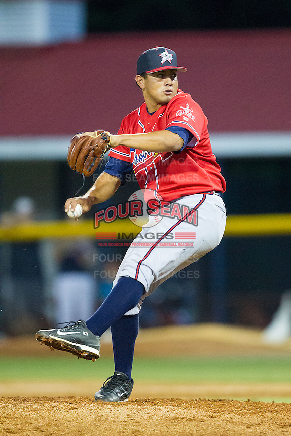 Danville Braves relief pitcher Carlos Salazar (33) in action against the Burlington Royals at Burlington Athletic Park on July 5, 2014 in Burlington, North Carolina.  The Royals defeated the Braves 5-4.  (Brian Westerholt/Four Seam Images)