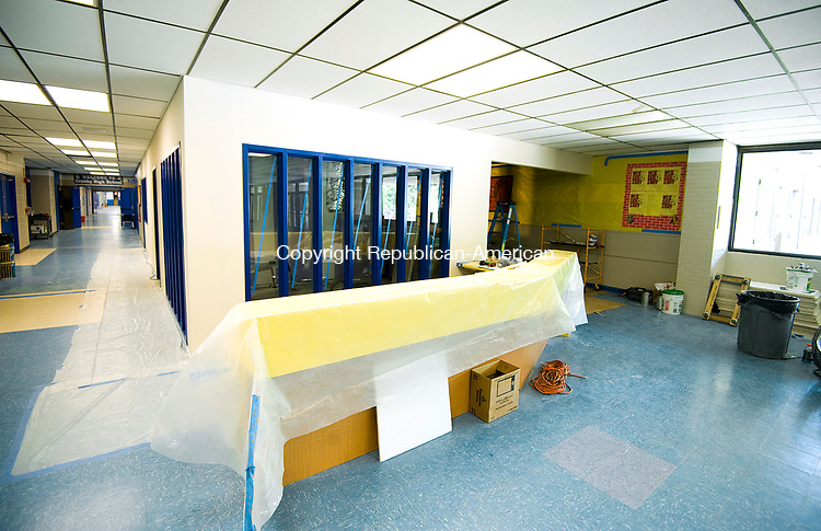 WATERBURY, CT-080917JS02-- A new parents center and new offices are being added in the front halls as construction continues Wednesday at Crosby High School in Waterbury. <br /> Jim Shannon Republican-American