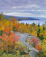 Tettegouche State Park, MN:  View of the fall forests along Lake Superior's north shore from Palisade Head
