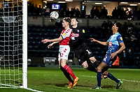 Fleetwood Town's Harvey Saunders (left) is beaten to the ball by Wycombe Wanderers' goalkeeper Ryan Allsop <br /> <br /> Photographer Andrew Kearns/CameraSport<br /> <br /> The EFL Sky Bet League One - Wycombe Wanderers v Fleetwood Town - Tuesday 11th February 2020 - Adams Park - Wycombe<br /> <br /> World Copyright © 2020 CameraSport. All rights reserved. 43 Linden Ave. Countesthorpe. Leicester. England. LE8 5PG - Tel: +44 (0) 116 277 4147 - admin@camerasport.com - www.camerasport.com