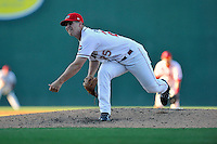 Pitcher Bobby Poyner (25) of the Greenville Drive delivers a pitch in a game against the Columbia Fireflies on Sunday, April 24, 2016, at Fluor Field at the West End in Greenville, South Carolina. Greenville won, 5-1. (Tom Priddy/Four Seam Images)