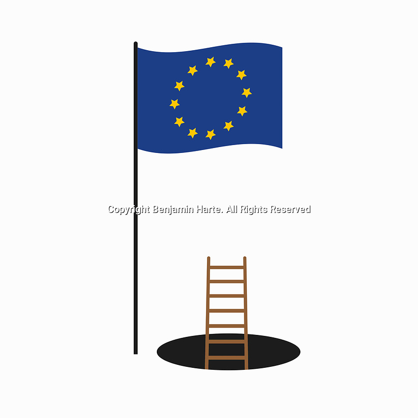 Ladder in a hole below European Union flag
