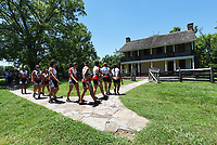 NWA Democrat-Gazette/FLIP PUTTHOFF <br /> Riders visit Elkhorn Tavern on Tuesday June 20 2017 during their stop at Pea Ridge National Military Park.