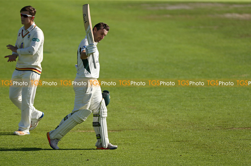 Daryl Mitchell of Worcestershire celebrates getting his Century, Daryl will go onto score 123 not out during Worcestershire CCC vs Durham CCC, Specsavers County Championship Division 2 Cricket at New Road on 28th September 2017