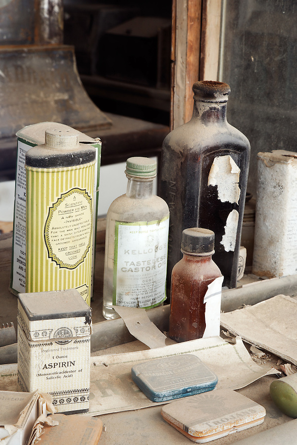 Healthcare items on display in Boon's Store, Bodie State Historic Park, California, USA