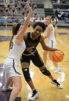 Bentonville's Maryam Dauda (top) drives into the lane Friday, Jan. 17, 2020, as Fayetteville's Caroline Lyles (23) defends during the second half of play in Bulldog Arena in Fayetteville. Visit nwaonline.com/prepbball/ for a gallery from the games.<br /> (NWA Democrat-Gazette/Andy Shupe)
