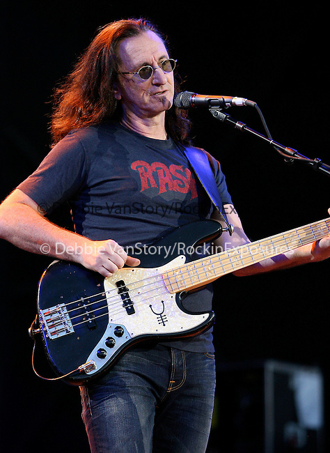 """Geddy Lee of RUSH performs live at the opening night of """"An Evening with RUSH"""" Tour held at Hard Rock Casino Pavillion in Albuquerque, New Mexico on June 29,2010                                                                   Copyright 2010  Rod Tanaka / RockinExposures"""