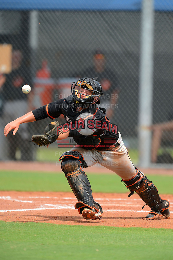 GCL Orioles catcher Chance Sisco (30) catches a foul ball pop up during a game against the GCL Rays on July 20, 2013 at Charlotte Sports Complex in Port Charlotte, Florida.  GCL Orioles defeated the GCL Rays 4-1.  (Mike Janes/Four Seam Images)