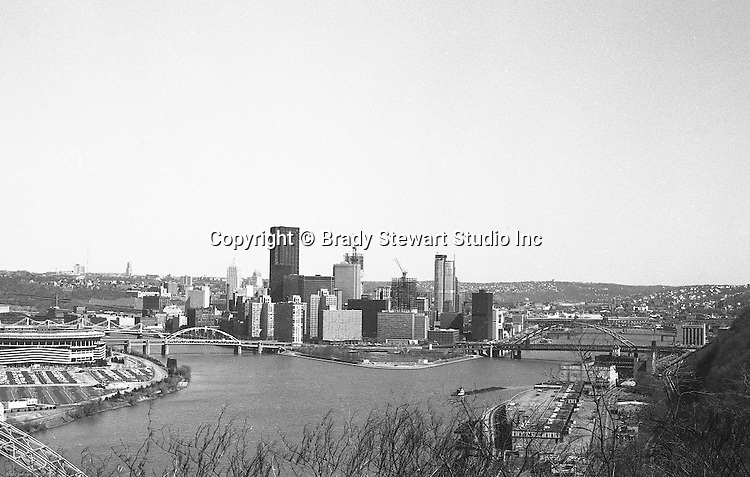 Pittsburgh PA:  View of the city during the construction of PPG Place, One Mellon Center, and One Oxford Centre - 1983