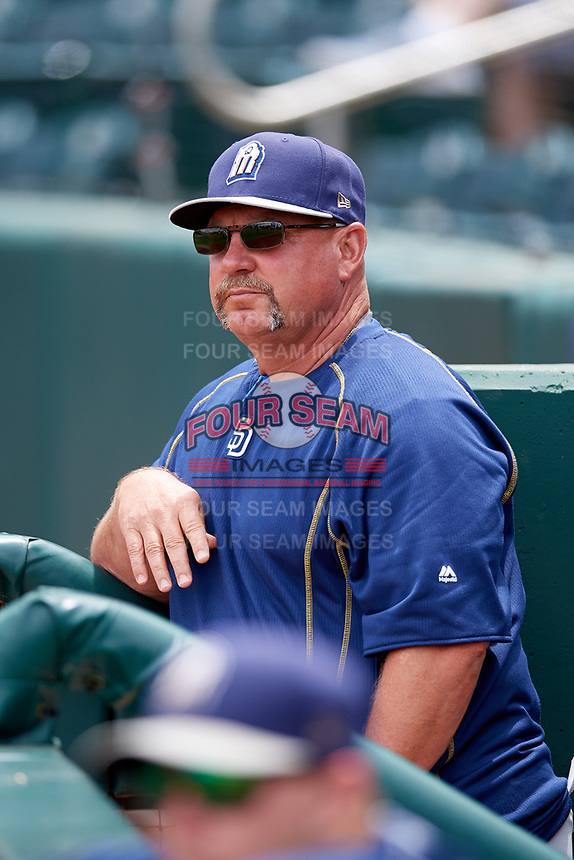San Antonio Missions manager Phillip Wellman (30) in the dugout before a game against the Springfield Cardinals on June 4, 2017 at Hammons Field in Springfield, Missouri.  San Antonio defeated Springfield 6-1.  (Mike Janes/Four Seam Images)