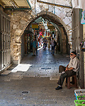 A shopping street in the Christian Quarter of the Old City of Jerusalem.  The Old City of Jerusalem and its Walls is a UNESCO World Heritage Site