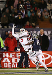 Fresno State's Josh Harper (3) tries to make a reception under pressure from Nevada's Evan Favors (19) during the second half of an NCAA college football game in Reno, Nev., on Saturday, Nov. 22, 2014. (AP Photo/Cathleen Allison)