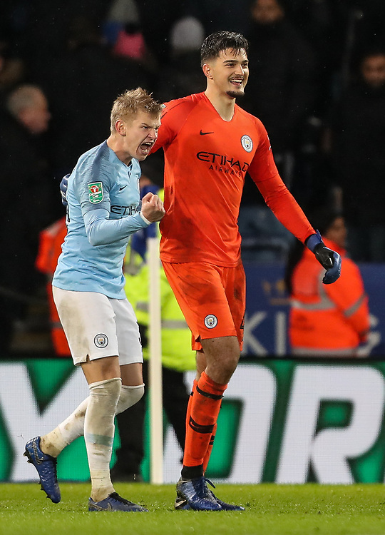Manchester City's Oleksandr Zinchenko and Arijanet Muric celebrate victory after a penalty shoot out<br /> <br /> Photographer Andrew Kearns/CameraSport<br /> <br /> English League Cup - Carabao Cup Quarter Final - Leicester City v Manchester City - Tuesday 18th December 2018 - King Power Stadium - Leicester<br />  <br /> World Copyright © 2018 CameraSport. All rights reserved. 43 Linden Ave. Countesthorpe. Leicester. England. LE8 5PG - Tel: +44 (0) 116 277 4147 - admin@camerasport.com - www.camerasport.com