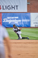 Julio Carreras (2) of the Grand Junction Rockies throws to first base against the Ogden Raptors at Lindquist Field on June 17, 2019 in Ogden, Utah. The Rockies defeated the Raptors 9-0. (Stephen Smith/Four Seam Images)