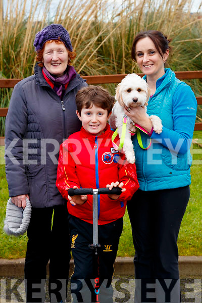 Angela Nolan (Fenit) with Conor and Melissa Nolan (Tralee), pictured at the Operation Transformation Walk at Tralee Bay Wetlands on Saturday morning last.