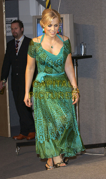 NATASHA BEDINGFIELD.MTV Europe Music Awards 2004.November 18th, 2004.full length, green pattern, printed dress, halterneck.www.capitalpictures.com.sales@capitalpictures.com.©Capital Pictures