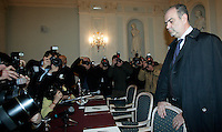 Il senatore del Pdl Nicola Di Girolamo arriva per una conferenza stampa a Roma, 24 febbraio 2010, all'indomani della richiesta d'arresto nei suoi confronti nell'ambito di una inchiesta sul riciclaggio di capitali della 'ndrangheta, che avrebbe anche favorito la sua elezione manomettendo le schede bianche per l'elezione dei candidati al Senato votati dagli italiani residenti in Germania..People of Freedom center-right party's senator Nicola Di Girolamo arrives for a press conference in Rome, 24 february 2010. Italian anti-Mafia authorities issued arrest for Di Girolamo, suspected of helping cover up the money laundering, and being elected with falsified voter ballots of Italians living in the German city of Stuttgart, arranged by the Calabrian mafia, known as 'ndrangheta. .UPDATE IMAGES PRESS/Riccardo De Luca