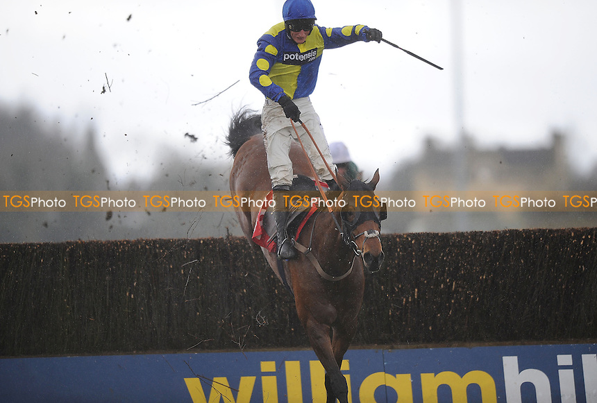 Poungach ridden by Daryl Jacob jumps the last and goes on to win the 32Red Novices´ Chase Cl3  - Horse Racing at Kempton Park Racecourse, Sunbury, Middlesex -16/03/2013 - MANDATORY CREDIT: Martin Dalton/TGSPHOTO - Self billing applies where appropriate - 0845 094 6026 - contact@tgsphoto.co.uk - NO UNPAID USE.
