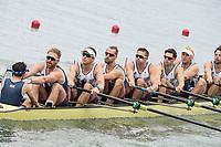 Rio de Janeiro. BRAZIL.   GBR M8+. Bow. Scott DURANT,   Tom RANSLEY, Andy Triggs HODGE,HODGE,  Matt GOTREL,  Pete REED, Paul BENNETT, Matt LANGRIDGE, William SATCH and Cox, Phelen HILL, moving away from the start at the 2016 Olympic Rowing Regatta. Lagoa Stadium,<br /> Copacabana,  &ldquo;Olympic Summer Games&rdquo;<br /> Rodrigo de Freitas Lagoon, Lagoa.   Monday  08/08/2016 <br /> <br /> [Mandatory Credit; Peter SPURRIER/Intersport Images]
