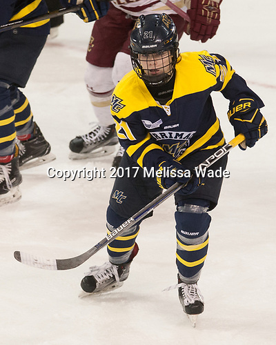 Annie Boeckers (Merrimack - 21) - The number one seeded Boston College Eagles defeated the eight seeded Merrimack College Warriors 1-0 to sweep their Hockey East quarterfinal series on Friday, February 24, 2017, at Kelley Rink in Conte Forum in Chestnut Hill, Massachusetts.The number one seeded Boston College Eagles defeated the eight seeded Merrimack College Warriors 1-0 to sweep their Hockey East quarterfinal series on Friday, February 24, 2017, at Kelley Rink in Conte Forum in Chestnut Hill, Massachusetts.