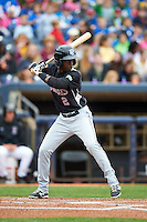 New Britain Rock Cats second baseman Juan Ciriaco (2) at bat during a game against the Akron RubberDucks on May 21, 2015 at Canal Park in Akron, Ohio.  Akron defeated New Britain 4-2.  (Mike Janes/Four Seam Images)
