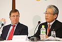 (L to R) Gilbert Felli, Tsunekazu Takeda, NOVEMBER 15, 2013 : International Olympic Committee (IOC) Executive Director Gilbert Felli and Japanese Olympic Committee (JOC) President Tsunekazu Takeda attend the press conference after the IOC/Tokyo 2020 Orientation Seminar for Tokyo Olympic Games 2020 at JISS, Tokyo, Japan. (Photo by Yusuke Nakansihi/AFLO SPORT) [1090]